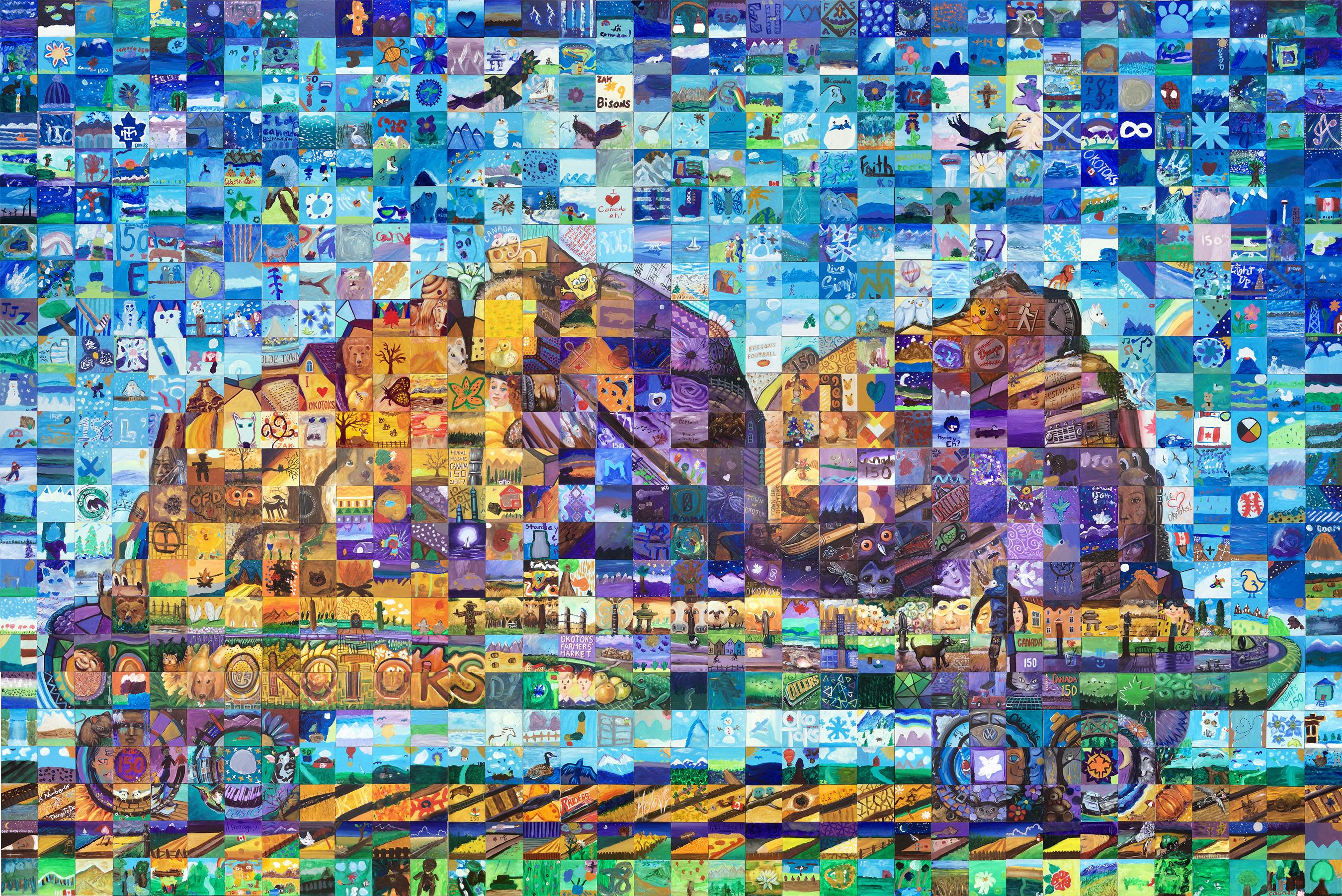 Okotoks canada mosaic murals for Cochrane mural mosaic
